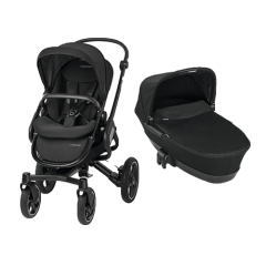 Maxi-Cosi Nova 4 wheel pushchair & Foldable Carrycot Bundle | Black Raven